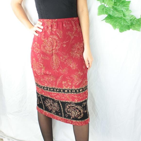 Dresses & Skirts - Vintage Rayon Maxi/Midi Skirt Red/Black Floral S